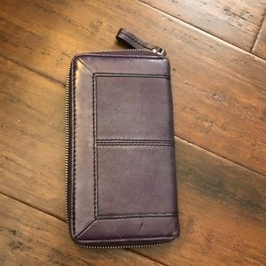 Banana Republic purple leather wallet
